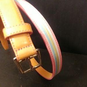 Coach Tan Leather Slim Belt as M Striped Canvas